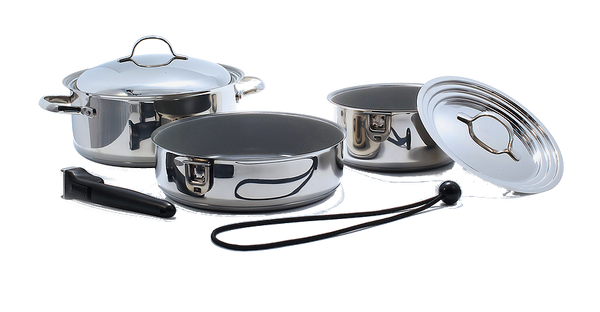 Kuuma 7-Piece Ceramic Nesting Cookware Set - Stainless Steel w/Non-Stick Coating - Induction Compatible - Oven Safe, 58375