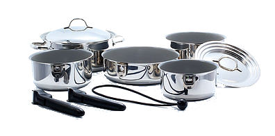 Kuuma 10-Piece Ceramic Nesting Cookware Set - Stainless Steel w/Non-Stick Coating - Induction Compatible - Oven Safe