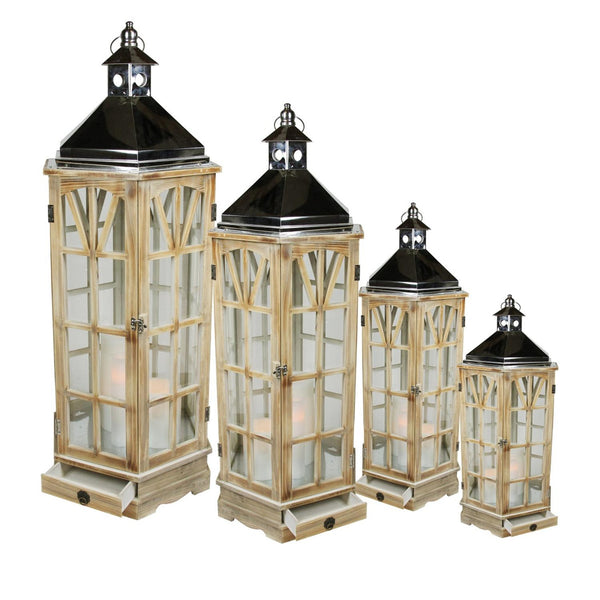 "Set of 4 Wooden Garden-Style Round Lanterns with Silver Handles 49"", XG78078"