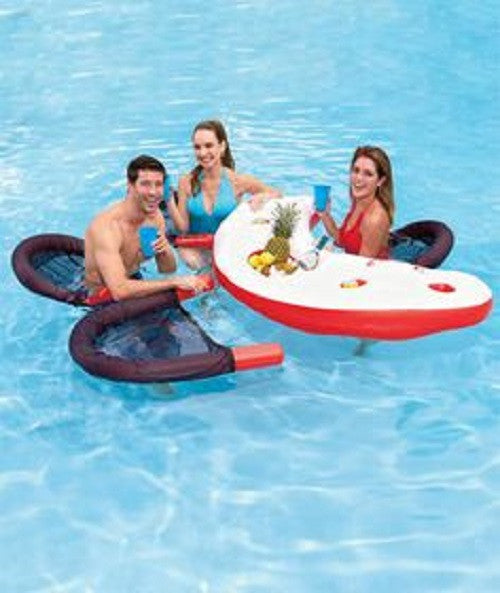 "67"" Inflatable Red, White, and Black Floating Swimming Pool Bar Set, JL037113NPF"