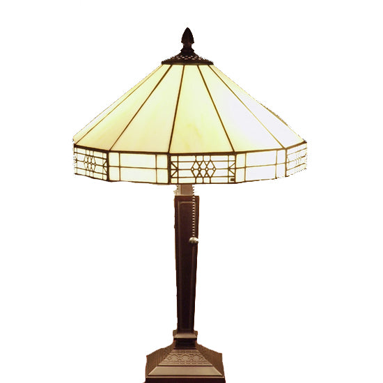 Tiffany-style Mission-style White Table Lamp - T14M113