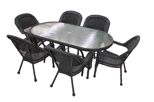 7-Piece Black Resin Wicker Patio Dining Set - 6 Chairs and 1 Dining Table
