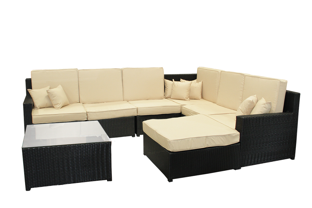 8-Piece Black Resin Wicker Outdoor Furniture Sectional Sofa, Table and Ottoman Set - Beige Cushion