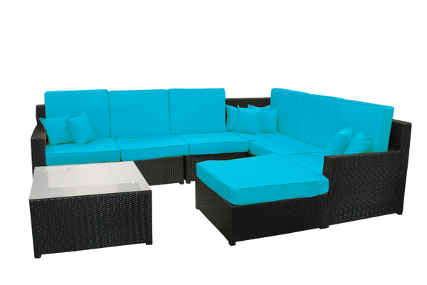 8-Piece Black Resin Wicker Outdoor Furniture Sectional Sofa, Table and Ottoman Blue Cushion Set