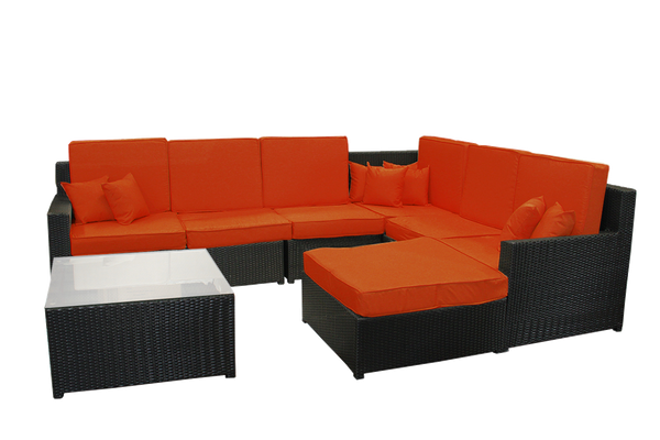 8-Piece Black Resin Wicker Outdoor Furniture Sectional Sofa, Table and Ottoman Set - Orange Cushions