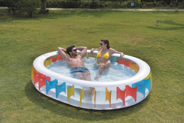 "98"" Elliptical Shaped Inflatable Pool with Multi-Colored Panels, JL017396NPF"