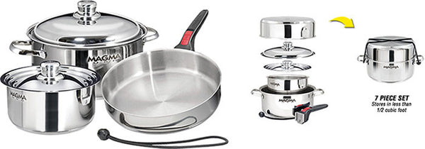 Magma Nestable 7 Piece S.S Starter Cookware Set, A10-362