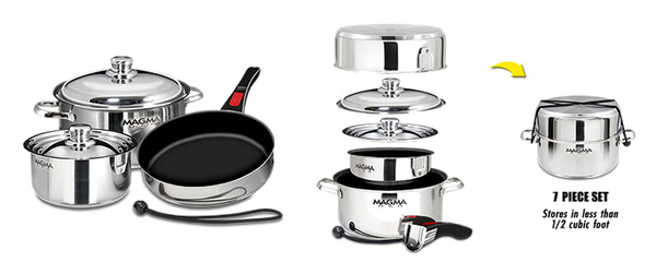 Magma Nestable 7-Piece Cookware - Stainless Steel/Slate Black Ceramica Non-Stick Interior, A10-363-2