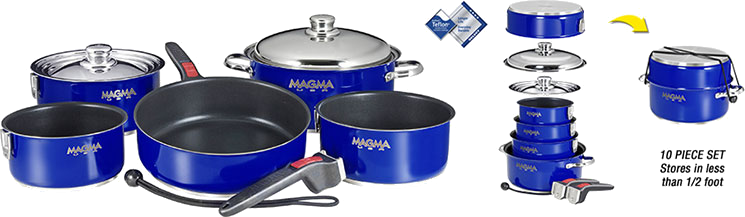 Magma Nesting 10-Piece Induction Compatible Cookware - Cobalt Blue Exterior & Slate Black Ceramica Non-Stick Interior, A10-366-CB-2-IN