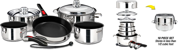Magma Nesting 10-Piece Induction Compatible Cookware - SS Exterior & Slate Black Ceramica Non-Stick Interior, A10-366-2-IND