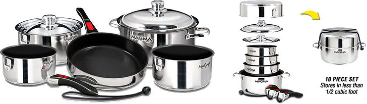 Magma Nesting 10-Piece Cookware - Stainless Steel Exterior & Slate Black Ceramica Non-Stick Interior, A10-366-2