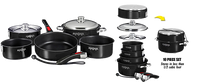 Magma Nesting 10-Piece Induction Compatible Cookware - Jet Black Exterior & Slate Black Ceramica Non-Stick Interior, A10-366-JB-2-IN