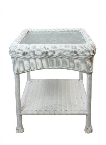 "22"" White Resin Wicker Outdoor Patio Side Table with Glass Top and Storage Shelf, BOI-95918GST"