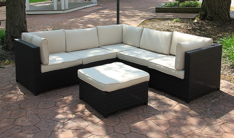 Black Resin Wicker Outdoor Furniture Sectional Sofa Set - Beige Cushions