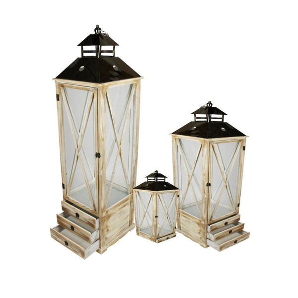 "Set of 3 Rustic Brown Wooden Garden-Style Lanterns with Silver Handles 17-49.2"", XG78077"