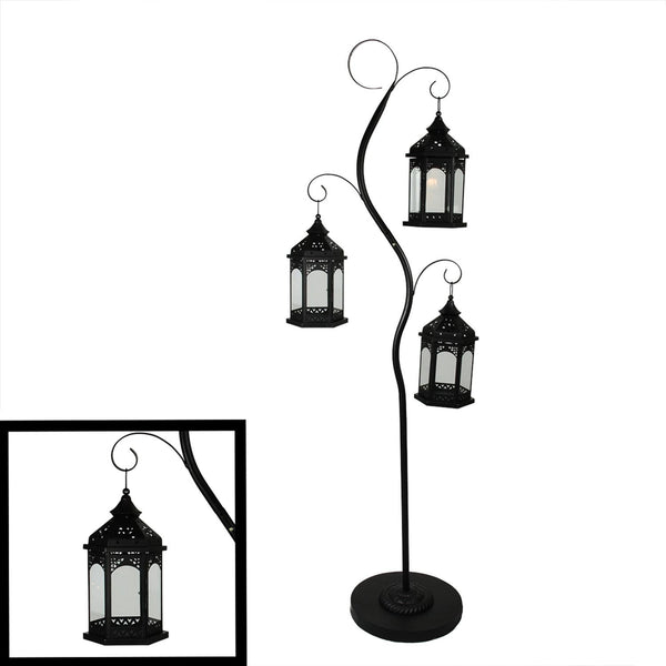 "70"" Rustic Black Pillar Candle Holder Tree with 3 Decorative Lanterns, XF78544"