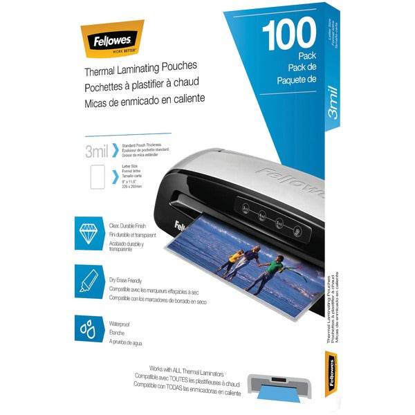 Fellowes® Thermal Laminating Pouches, 100 pk (3 mil), 5743301