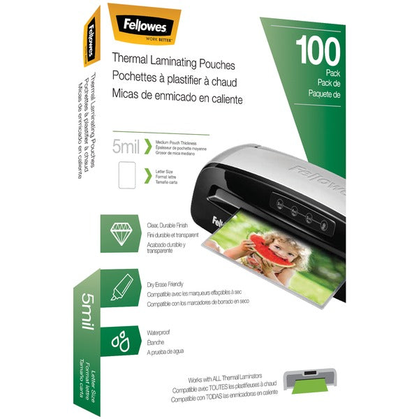 Fellowes® Thermal Laminating Pouches, 100 pk (5 mil), 5743501