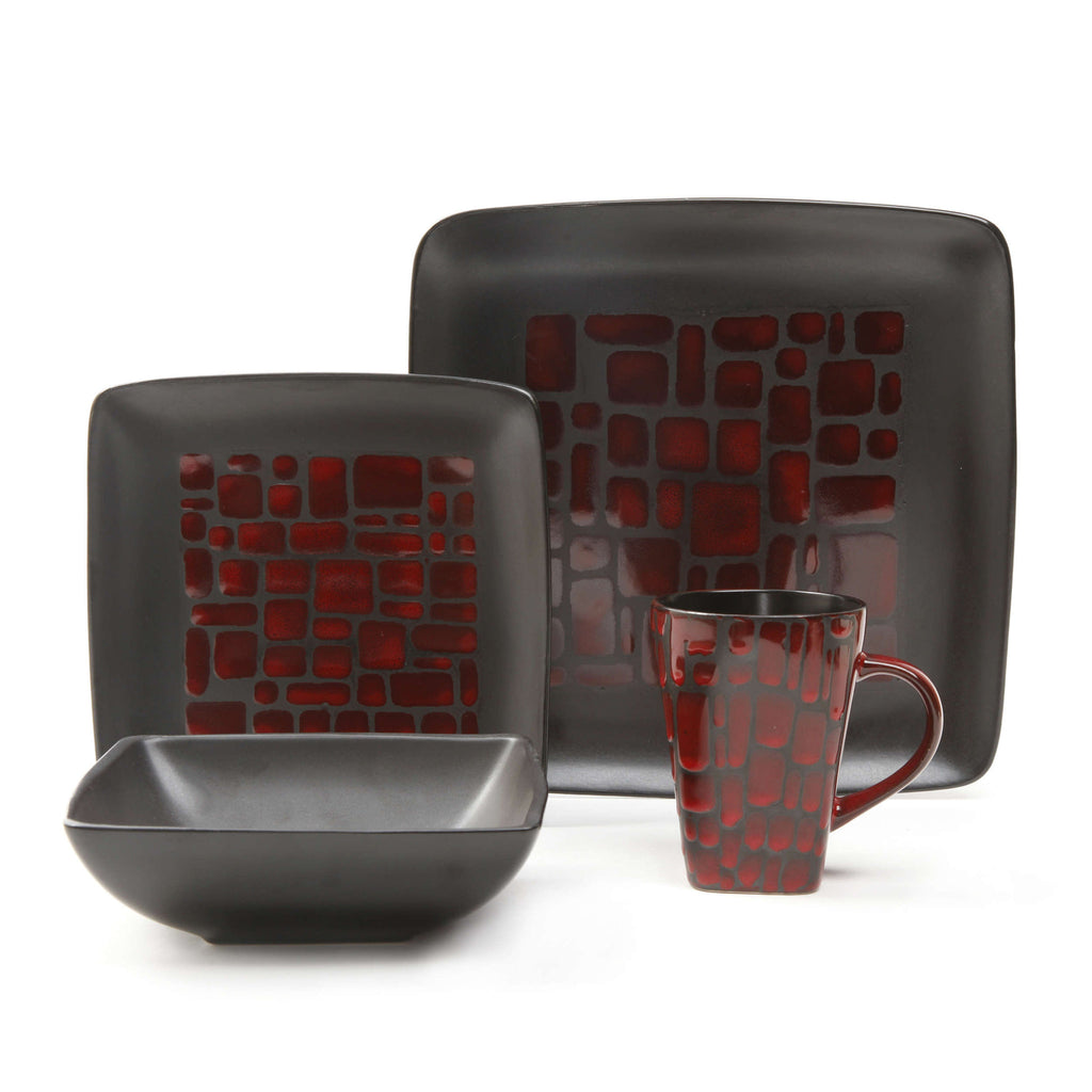 Gibson Elite Cabazon 16 Piece Dinnerware Set in Red - 79697.16