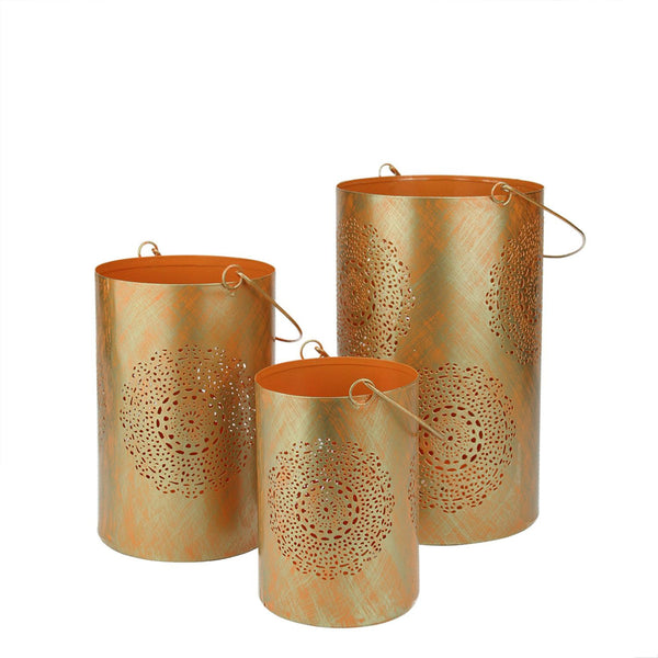 "Set of 3 Orange and Gold Decorative Floral Cut-Out Pillar Candle Lanterns 10"", RV14267"