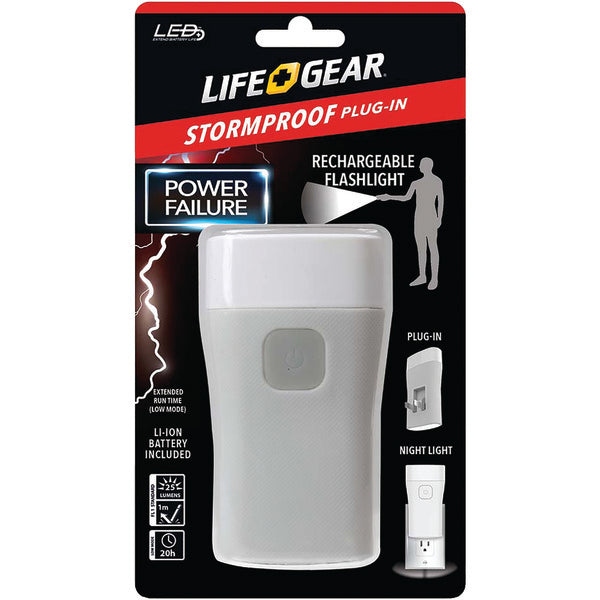 LifeGear 25-Lumen Stormproof Power Failure Night-Light & Flashlight AA38-60635-RED