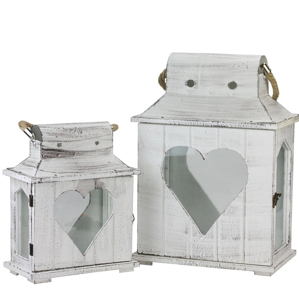 Set of 2 Decorative White Washed Wooden Candle Holder Lanterns with Heart Shaped Cut-Outs, XF36663