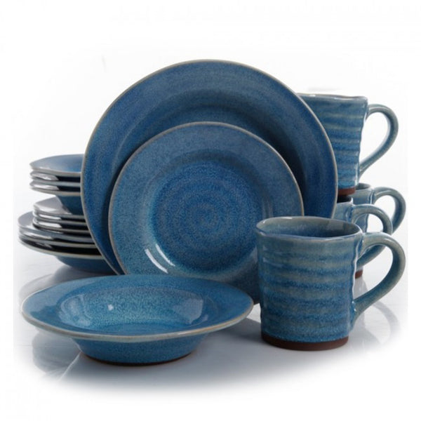 Gibson Elite Mariani 16 Piece Stoneware Dinnerware Set in Blue - 94861.16