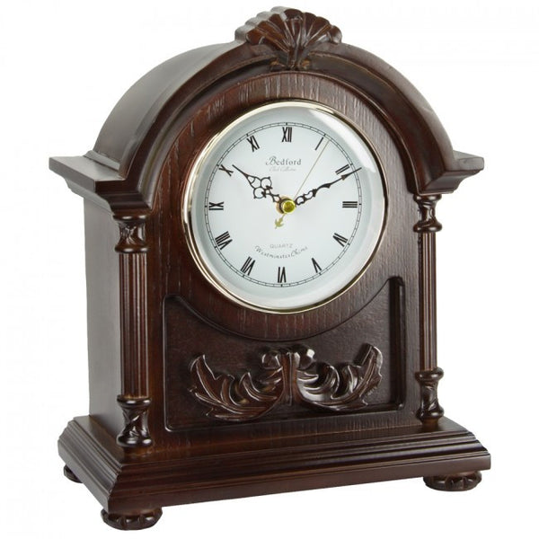 Bedford Clock Collection Wood Mantel Clock with Chimes, BED183