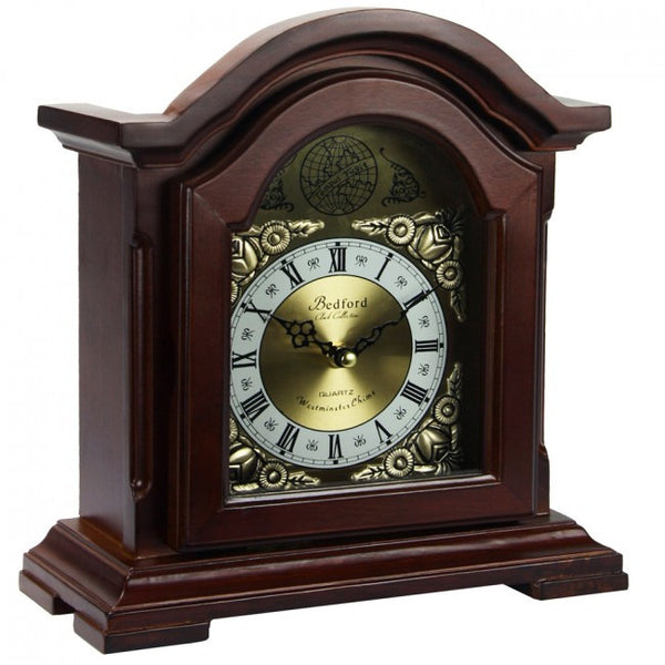 Bedford Clock Collection Redwood Mantel Clock with Chimes, BED6003
