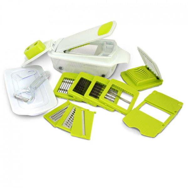 MegaChef 8-in-1 Multi-Use Slicer Dicer and Chopper with Interchangeable Blades, Vegetable and Fruit Peeler and Soft Slicer - MG-MULTI-SLICER-DICER