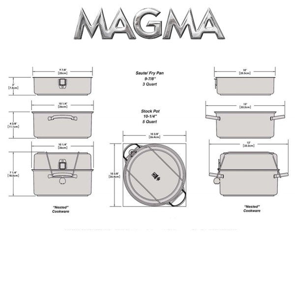 Magma Nesting 7-Piece Induction Compatible Cookware - Stainless Steel Exterior & Slate Black Ceramica Non-Stick Interior, A10-363-2-IND