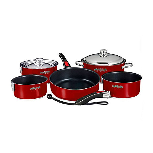 Magma Nesting 10-Piece Induction Compatible Cookware - Magma Red Exterior & Slate Black Ceramica Non-Stick Interior, A10-366-MR-2-IN