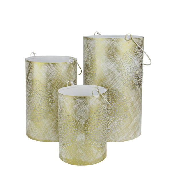 "Set of 3 White and Gold Decorative Floral Cut-Out Pillar Candle Lanterns 10"", RV14197"