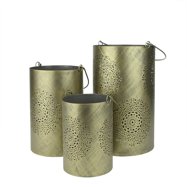"Set of 3 Gray and Gold Decorative Floral Cut-Out Pillar Candle Lanterns 10"", RV14198"