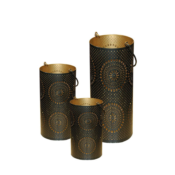 "Set of 3 Black and Gold Decorative Floral Cut-Out Pillar Candle Lanterns 12.5"", RV14271"
