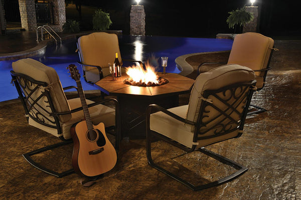 5-Piece Harmony Cast Aluminum Patio Chair and Gas Fire Pit Outdoor Furniture Set - Tan Cushions
