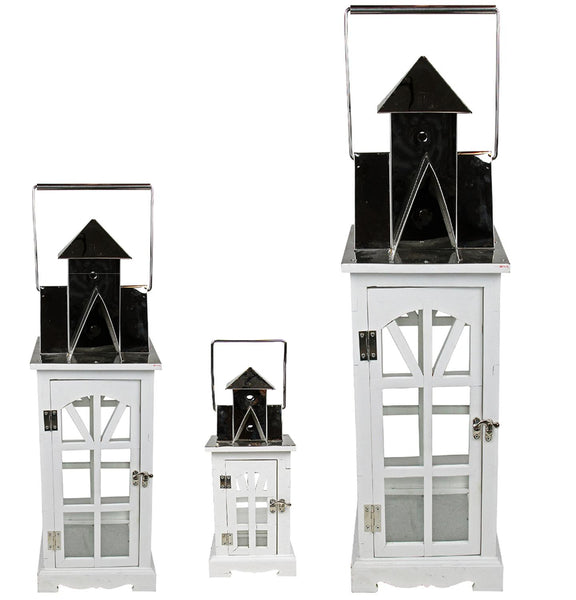 "Set of 3 Elegant Serenity Tall White and Silver Glass Candle Lanterns 37"", XG78086"