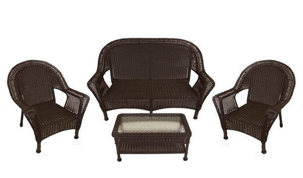 4-Piece Brown Resin Wicker Patio Furniture Set- 2 Chairs, Loveseat & Table
