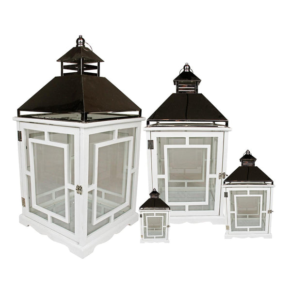 "Set of 4 Cottage Style White Wooden Lanterns with Silver Handles 13-35"", XG78065"