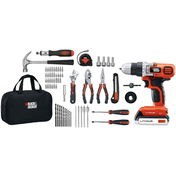 Black & Decker 20-Volt MAX* Lithium Drill/Driver & 68-Piece Project Kit BDKLDX120PK