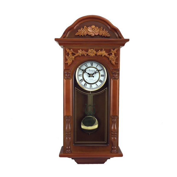 Bedford Clock Collection 27.5 Antique Chiming Wall Clock with Roman Numerals in a  Padauk Oak Finish
