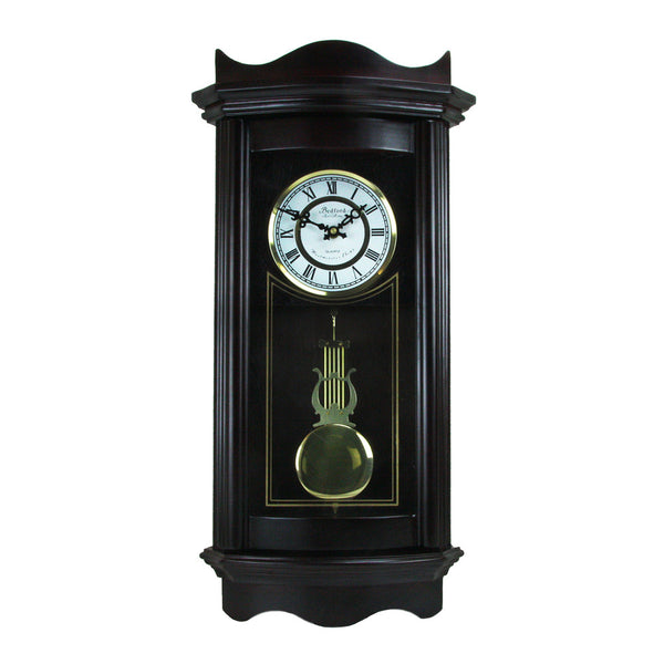 Bedford Clock Collection Weathered Chocolate Cherry Wood 25 Wall Clock with Pendulum
