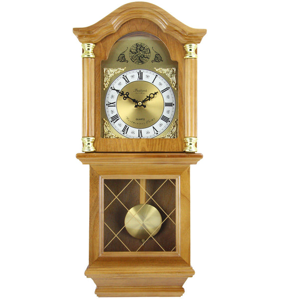 Bedford Clock Collection Classic 26 Golden Oak Chiming Wall Clock With Swinging Pendulum