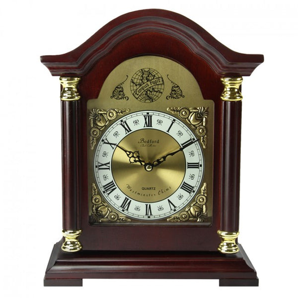 Bedford Clock Collection Redwood Mantel Clock with Chimes, BED1924