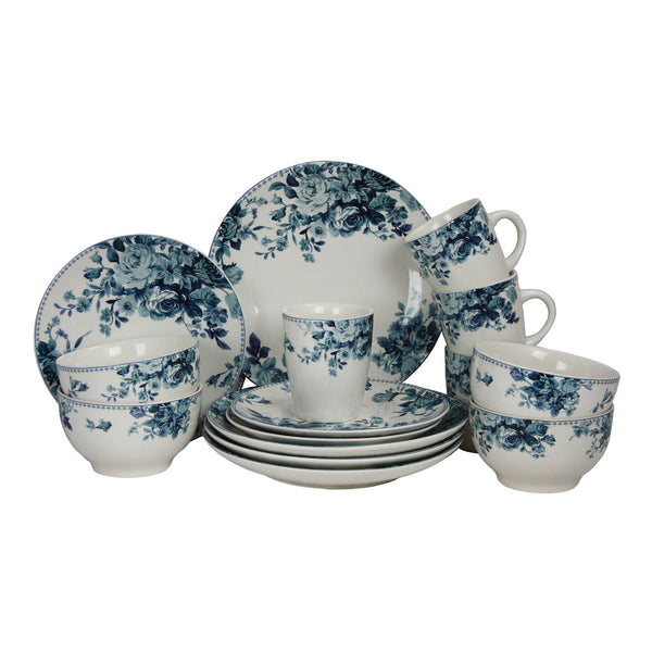 Elama Traditional Blue Rose 16 Piece Dinnerware Set - EL-BLUE-ROSE
