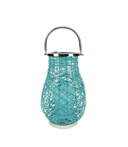 "16.25"" Modern Turquoise Blue Decorative Woven Iron Pillar Candle Lantern with Glass Hurricane"