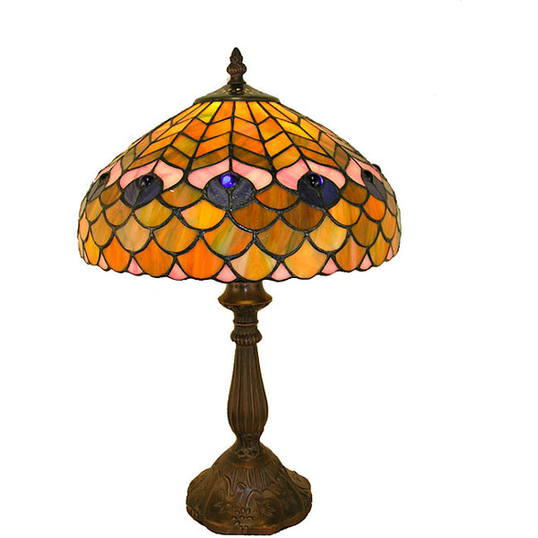 Tiffany-style Peacock Table Lamp - P400490