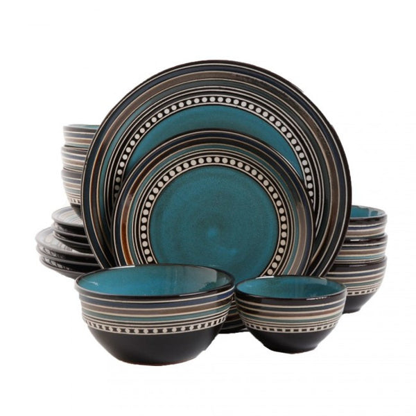 Gibson Elite Café Versailles 16 Piece Double Bowl Dinnerware Set, Blue - 92590.16