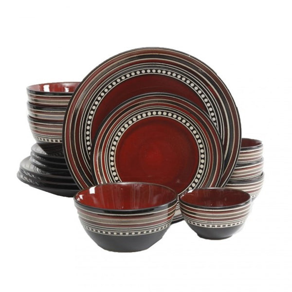 Gibson Elite Café Versailles 16 Piece Double Bowl Dinnerware Set, Red - 92744.16
