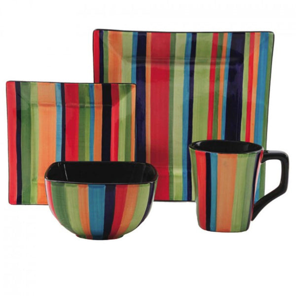 Gibson Elite Square 16pc Florid Stripes Dinnerware Set - 91476.16
